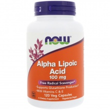Антиоксиданты NOW Alpha Lipoic Acid 100мг 120 капсул